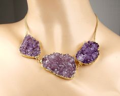 Purple Druzy Necklace Amethyst Crystal Geode Large Crystal Slice Statement Necklace Lavender Gold Luxury Fall Fashion