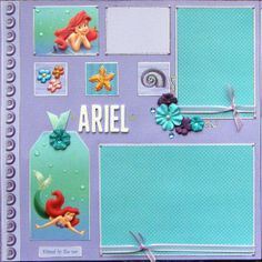 Disney Scrapbook Page Layouts | 12x12 double page scrapbook layout Disney's Ariel by ntvimage, $19.99