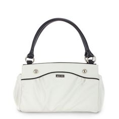 Carlie - Premium Classic Shell  Lightly-textured faux leather in pure snowy white features convenient end-pocket design. Sophisticated contrasting black piping and oversized stud accents make this fresh look complete.
