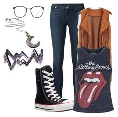 Hippie by rainbowsandthenme on Polyvore featuring polyvore, fashion, style, Topshop, J Brand, Converse, Diane Kordas, Amrita Singh, Linda Farrow, women's clothing, women's fashion, women, female, woman, misses and juniors