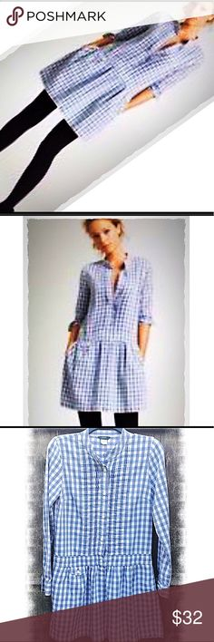 "Drop Waist Gingham Dress by J. Crew Adorable drop waist gingham Dress by J. Crew in a SZ 4. GUC Great used condition gently worn a handful of times!  33"" long from shoulder to hem and 17"" across the bust and dropped waist line. J. Crew Dresses Mini"