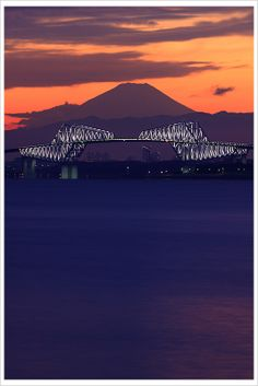 Sunset in Mount Fuji and Tokyo Gate Bridge, Japan