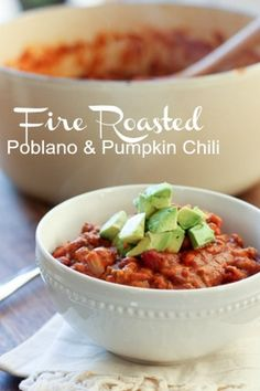 Fire Roasted Poblano and Pumpkin Chili. Healthy dinner recipe loaded with flavor! http://evendinnertime.blogspot.com