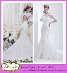 *-*China New Hot Elegant Mermaid Lace Keyhole Back Appliques Boat Neck Sweep Train Plus Size Long Sleeve Wedding Gowns Yj0034 - China Plus Size Long Sleeve Wedding Gowns, Wedding Dress 2014
