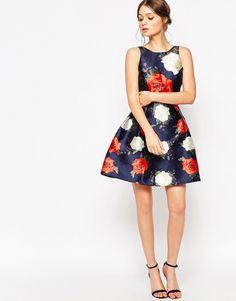 Image 4 ofChi Chi London Petite Rose Print Floral Prom Dress