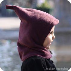 Hoodie Hat - Cagoule - Kapuzenmütze GAETANA col. 51 prune .::. http://www.ateliercagoules.com