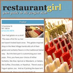 """Take your next frozen treat craving to POPBAR! Restauranf Girls calls us """"The Coolest Popsicles in New York!"""""""