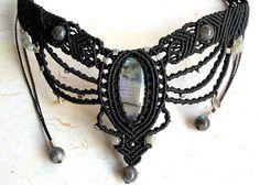 Macrame necklace - micro macrame necklace - labradorite stone - labradorite necklace - boho - hippie
