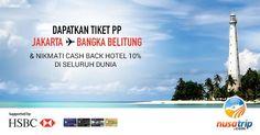 Nikmati #Promo #kartukreditHSBC hanya di #NusaTrip. Dapatkan cashback untuk pemesanan #hotel di seluruh dunia hingga 10% (sebelum pajak). Miliki kesempatan untuk mendapatkan #tiketpesawat GRATIS ke Bangka Belitung! Kunjungi halaman promo nya di www.nusatrip.com/hsbc