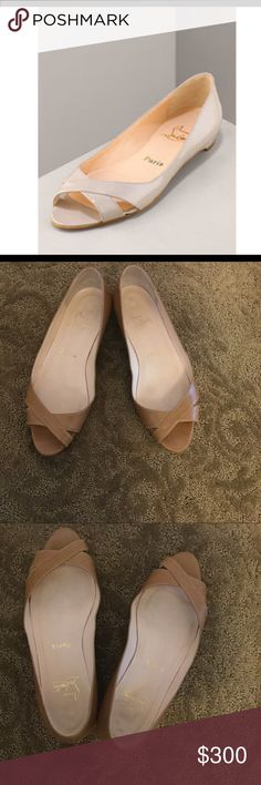 Christian Louboutin Open-Toe Flat Tan Christian Louboutin Open-Toe Flats Christian Louboutin Shoes