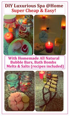 Spa at Home with Homemade Natural Products (w/recipes): Homemade Bath Salts, Homemade Bath Bubble Bars, Bath Bombs and Bath Melts. More Spa Hacks on www.MariaSself.com