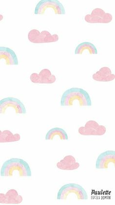 awesome Rainbow and clouds pastel iPhone wallpaper. Phone Wallpaper Pink, Pastel Iphone Wallpaper, Cloud Wallpaper, Rainbow Wallpaper, Iphone Background Wallpaper, Kawaii Wallpaper, Disney Wallpaper, Screen Wallpaper, Pastel Lockscreen