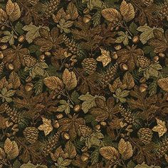 UPHOLSTERY FABRIC MOUNTAIN LODGE CABIN RUSTIC LEAF ACORN PINECONES FURNITURE