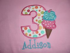 Personalized Birthday number with ice cream cone by DarlinStitches, $20.00