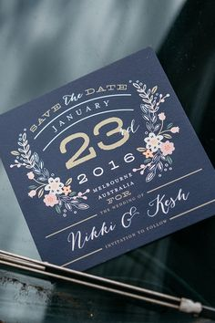 Navy, gold and pink wedding invitation with illustrated flowers | Caveira Photography | See more: http://theweddingplaybook.com/industrial-art-gallery-wedding/
