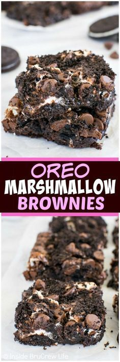 Oreo Marshmallow Brownies - swirls of cookies and marshmallows add a sweet twist to these brownies. Easily adaptable to be Gluten Free with a GF box brownie mix and GF chocolate sandwich cookies Oreo Desserts, Easy Desserts, Delicious Desserts, Yummy Food, Awesome Desserts, Dessert Healthy, Best Dessert Recipes, Desert Recipes, Sweet Recipes