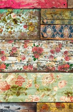 distressed decoupage floorboards