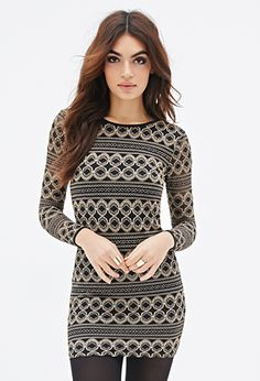 Ornate-Pattern Bodycon Dress | FOREVER21 - 2000135544 @judydez i love this!