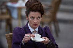 Missy, aka Mistress, aka the newest incarnation of the Master — and frankly the best since Roger Delgado's first incarnation — rises again in the two-part premiere. (Michelle Gomez as Missy.)