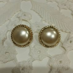 "French Bergere Vintage clip on pearl earrings Clip on, stamped Beregere. 1.5"" by 1.5"" Bergere Jewelry Earrings"
