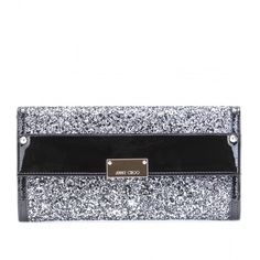 Jimmy Choo Reese Glitter Wallet Clutch ($625) ❤ liked on Polyvore