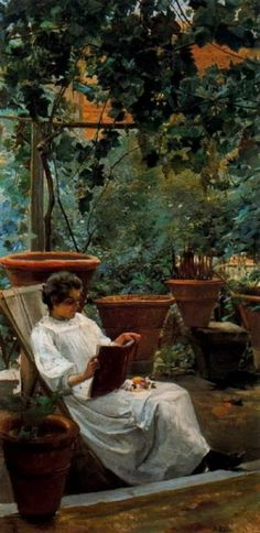 Woman reading in garden. Ignacio Díaz Olano (Spanish, 1860-1937). Oil on canvas.