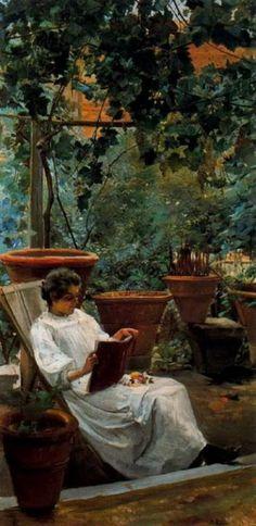 """Ignacio Díaz Olano (1860-1937) """"Donna che legge in giardino"""""""