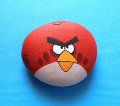 Piedra pintada a mano de aves enojado Pintura de por RockArtAttack
