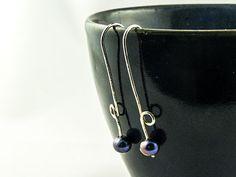 silver thread earrings with purple freshwater pearls €28 by LaPetiteMaisonBijoux