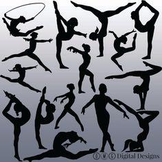 15 Gymnastics Silhouette Digital Clipart by OMGDIGITALDESIGNS