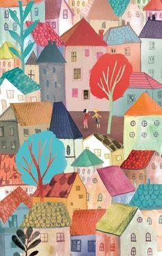 By adolfo serra. Art And Illustration, Landscape Illustration, Illustrations And Posters, Art Populaire, Naive Art, Painting & Drawing, Illustrators, Folk Art, Art For Kids