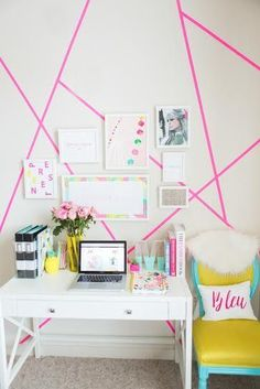 one easy way to add color to your room is with a washi tape wall