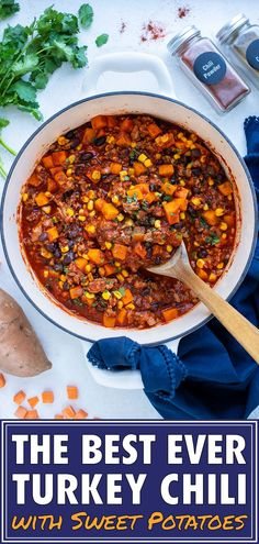This cozy Sweet Potato Chili with ground turkey and black beans is the perfect fall meal! This hearty, stew is full of black beans, crushed tomatoes, corn, and tons of sweet and spicy flavor.Make a big batch and freeze the leftovers for an easy dinner any night of the week. This kid friendly meal will be a favorite healthy dish this fall and winter! #groundturkey #blackbeans #turkey #chili #sweetpotato #dinner
