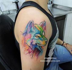 Watercolor wolf tattoo by Tato Castro www.tatocastro.com