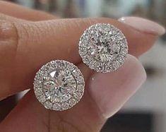 Diamond Earrings For Women, Diamond Earing, Raw Diamond, Bridal Earrings, Women's Earrings, Silver Earrings, Cluster Earrings, Sapphire Jewelry, Diamond Sizes