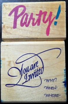 Rubber Stamps Lot 2 Two You are invited Party Invitation Wood Mount Scrapbooking #RubberStampede #Background
