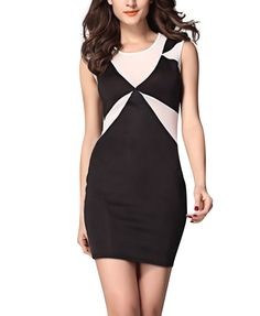 Round Neck Splice Dress