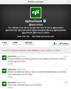 Epicurious social media disaster: Twitter screenshot