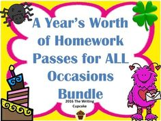 A Year's Worth of Homework Passes for ALL Occasions School Resources, Teacher Resources, Teaching Ideas, Teacher Binder, Teacher Hacks, Elementary Teacher, Upper Elementary, 1st Day Of School, Middle School