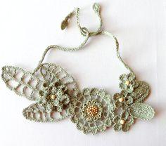 Crochet Linen Necklace  Statement Necklace  by CraftsbySigita,