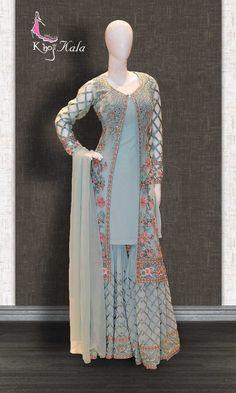 Salwar suits party wear - Buy Blue Georgette Designer Salwar Kameez (SKU Code online on best price at KhojKala Design Designer Party Wear Dresses, Kurti Designs Party Wear, Indian Designer Outfits, Gharara Designs, Latest Salwar Kameez Designs, Designer Salwar Suits, Pakistani Bridal Dresses, Pakistani Dress Design, Pakistani Outfits