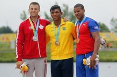 July 14 - Canoeing Flat - Men - C1 200m.  Jason McCoombs of Canada - Silver.  Isaquias Queiroz Dos Santos of Brazil - Gold.  Arnold Rodriguez of Cuba - Bronze. 2015 Pan Am Games at Welland Pan Am Flatwater Centre.