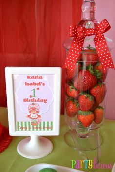 Vintage Strawberry Shortcake Birthday -- Faux Strawberries in an apothecary jar. Strawberry Shortcake Birthday, Vintage Strawberry Shortcake, Strawberry Shortcake Centerpieces, 4th Birthday Parties, Birthday Fun, Birthday Ideas, Fiestas Party, Baby Girl Birthday, First Birthdays