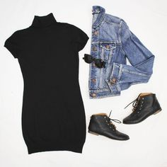 A good go to outfit this fall is a basic black dress, jean jacket, and boots. #ootd #freestylefind #style #fall #fashion
