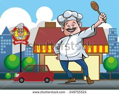 a chef in front of the grocery store or restaurant outlets