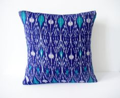 Kantha Pillow Cover 16x16 Blue Ikat Cushion, £5.48, Etsy
