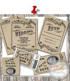 Party Simplicity Country Western Wedding Invitation #wedding #designerchallenge
