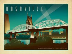 Shelby Street Bridge - This is the second horizontal print we've ever produced for the Spirit of Nashville collection. We created it to commemorate the re-naming of the Shelby Street Pedestrian Bridge when it became officially known as the John Seigenthaler Pedestrian Bridge. <br />