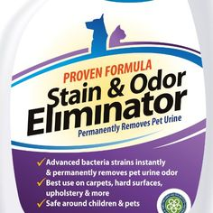 ** #1 Pet Odor Eliminator ** Urine Remover - CRI Certified Enzyme Cleaner For Old & New Stains - FREE BONUS Included - GUARANTEED Most Powerful Stain Odor Remover Urine Destroyer - Pet Stain Remover With Advanced Bacteria Strain - Effective Ca http://www.amazon.com/Pet-Odor-Eliminator-Urine-Remover/dp/B00H7PY3JA/ie=UTF8?m=A20928ZJNZ3NMR&keywords=odor+eliminator