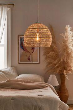 Plug In Pendant Light, Rattan Pendant Light, Rattan Light Fixture, Rattan Lamp, Pendant Lighting Bedroom, Home Lighting, Lighting Ideas, Decorating On A Budget, New Room